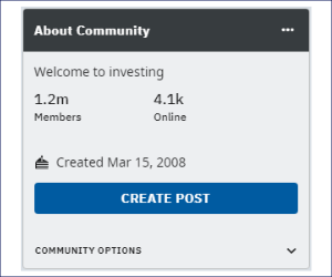 'Investing' community in Reddit