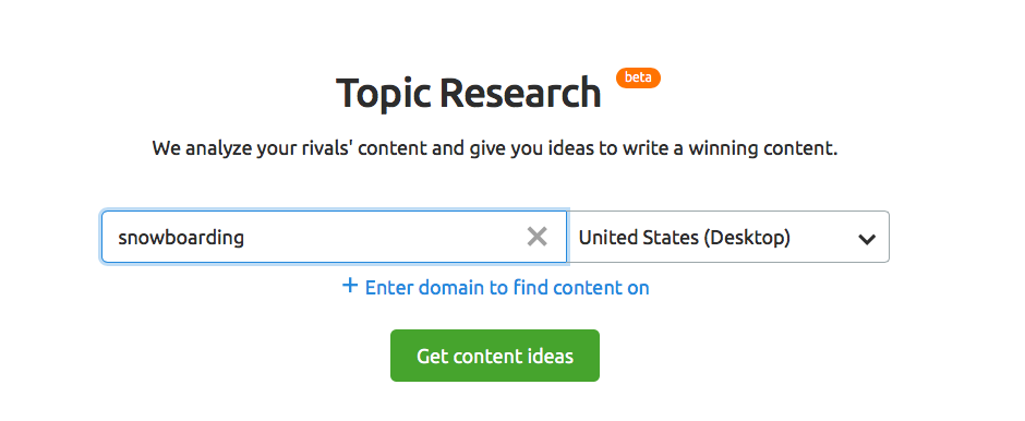 Topic Research with SEMrush